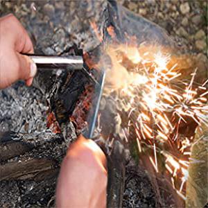 bayite Ferro Rods XL Survival Fire Starter Drilled Flint Steel Ferrocerium Rod Wick Hemp Cord