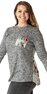 Hacci Floral Pull On Knit Top