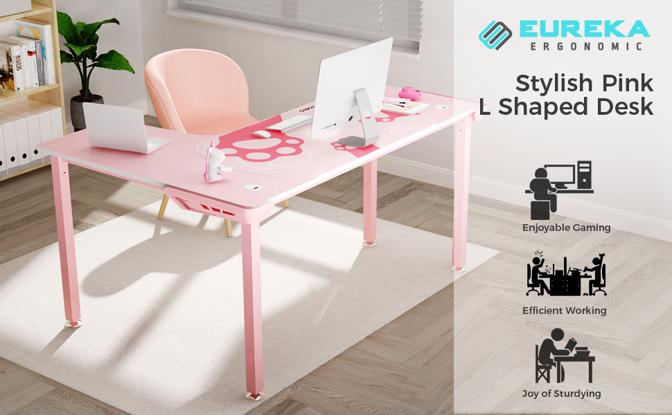 EUREKA ERGONOMIC L Shaped Desk, 60 inch Computer Desk for Girl with Mouse Pad,