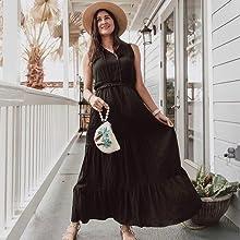 Summer Women Sleeveless Maxi Dress Solid Color Round Neck Tie Neck High Waist Ruffle A-Line Dress