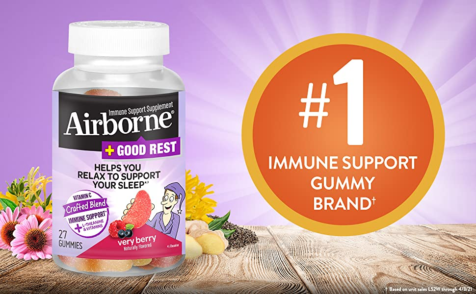 Airborne Plus Good Rest Very Berry Immune Support Gummies Vitamin C L-Theanine