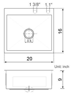 sinks size