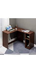 Storage Computer Desk Wood Walnut