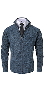 VtuAOL Men's Casual Slim Zip Up Thick Knitted Cardigan Sweaters with Pockets