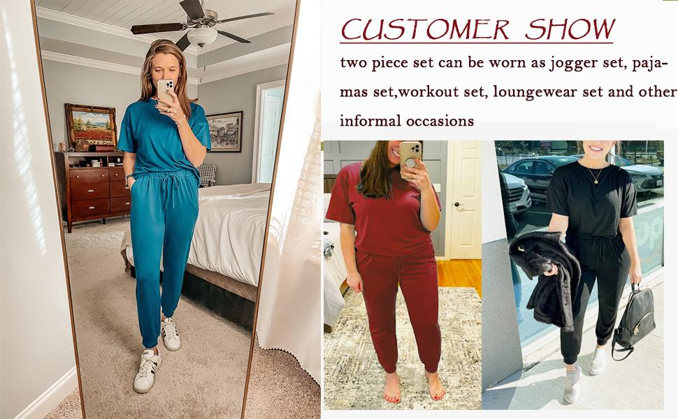 Women's Two Piece Outfit Casual Tracksuits Short Sleeve Sweatsuits With Pockets