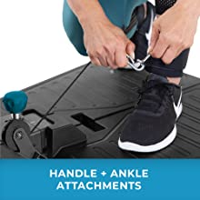Closeup of a model linking ankle attachment on Teeter FitForm