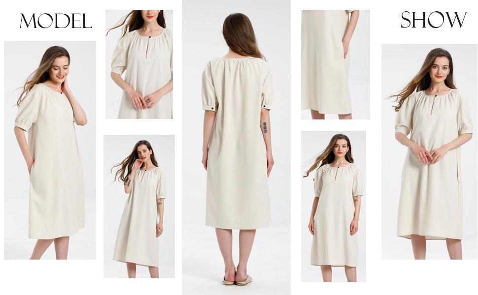 Minibee Women's Cotton Linen Dress Short Sleeve Midi Casual Tunic Dress with Pockets