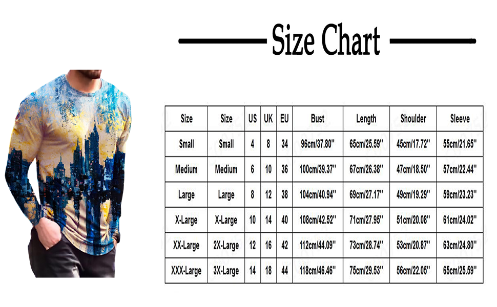 Men's Tops 3D Vintage Printed T-Shirt Casual Retro Street Style Long Sleeve Blouses