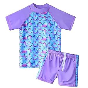 Girls Rash Guard Swimsuit Two Piece