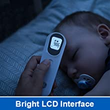 GE Contactless Thermometer Bright LCD Interface