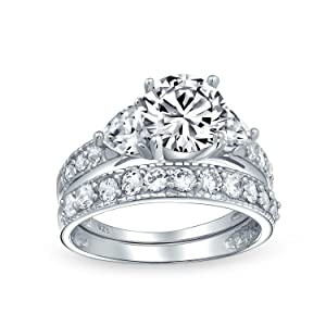 Solitaire Brilliant Cut Heart Shaped AAA CZ Pave Band Engagement Wedding Ring Set