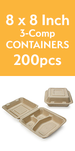 8amp;#34; 3-comp To-Go Containers
