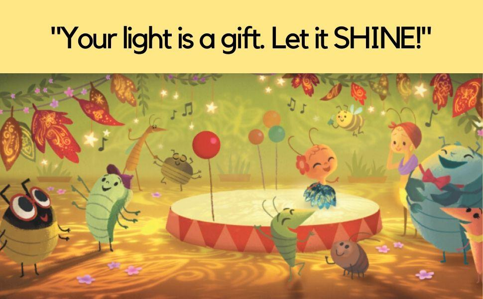 Several cute little bugs dance and sing while a Firefly shines her light.