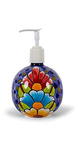 Talavera Soap Dispenser Floral Blue