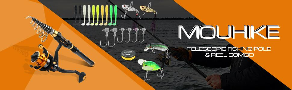 mouhike 1.8/2.1/2.4m fishing poles and reels combo with many accessories you need on a fishing trip