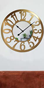 24 inch Mirrored Wall Clocks for Living Room
