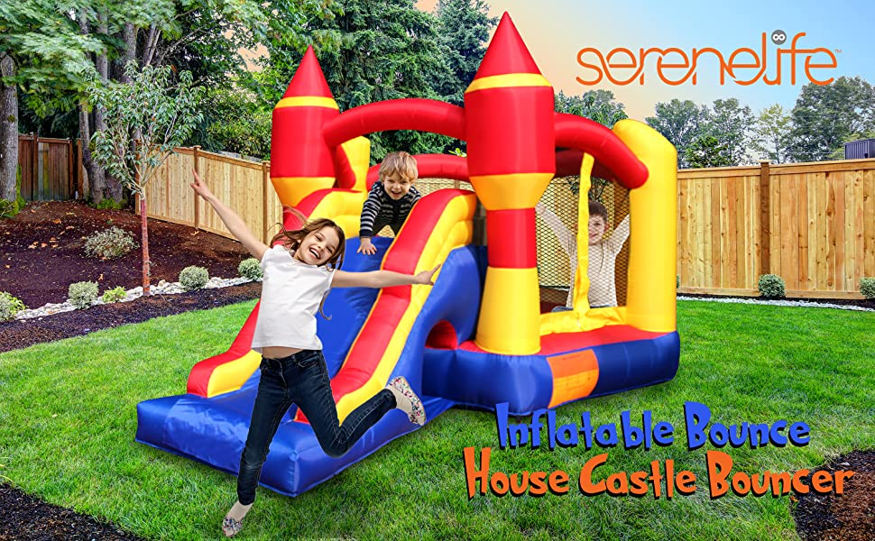 Inflatable Bounce House Castle Bouncer - Indoor/Outdoor Portable Jumping Bounce Castle w/ Slide