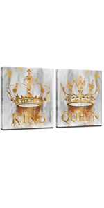Queen and King Crown Painting Art Prints on Canvas