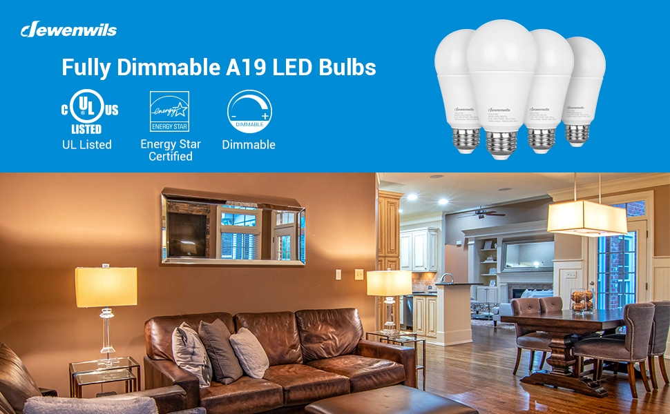 DEWENWILS 4-Pack Special Campaign A19 LED Light Equivalent Bulb ...