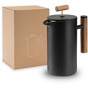 Lambda Coffee - Fransk press av rostfritt stål i svart med trähandtag och hållbar förpackning