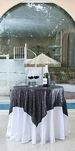 50*50 inch black sequin tablecloth
