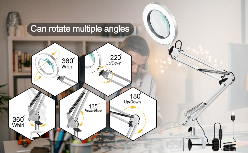 Swing Arm Magnifying Desk Lamp 5X