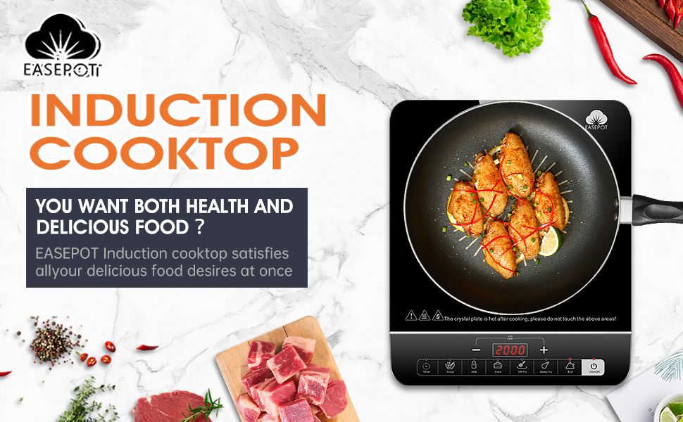 Induction Cooktop Easepot Portable Induction Cooker,Countertop Cooktop 6 Modes Multifunctional