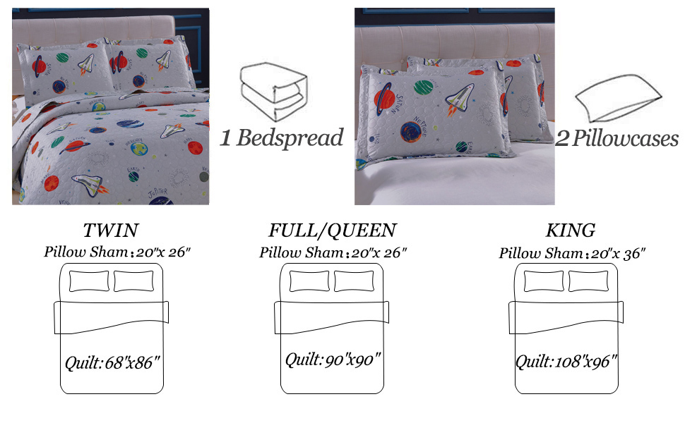3 Piece Space Quilt Ultra-Cheap Deals Summer Bedspreads Cover Bed ...