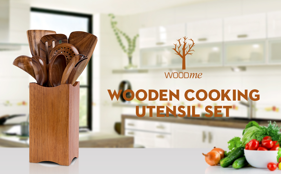 Wood cooking utensil set