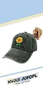 Sunflower Ponytail Hat