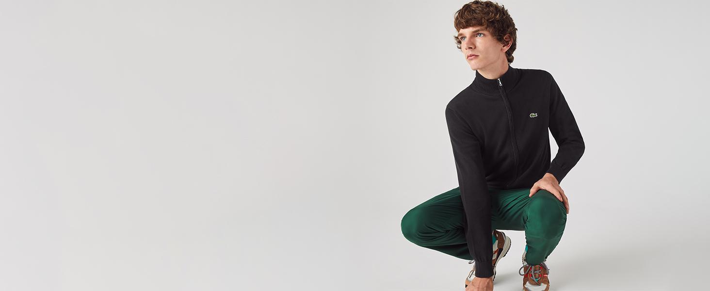Lacoste black high neck zipped pullover for men