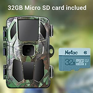 Trail Camera for Hunting with Night Vision Scouting Camera for Outdoor Wildlife Monitoring SD Card