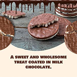 a sweet and wholesome treat coated in milk chocolate.