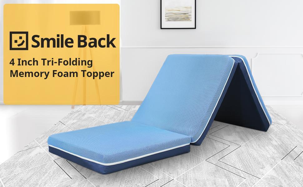 4 Inch Tri-Folding Memory Foam Topper