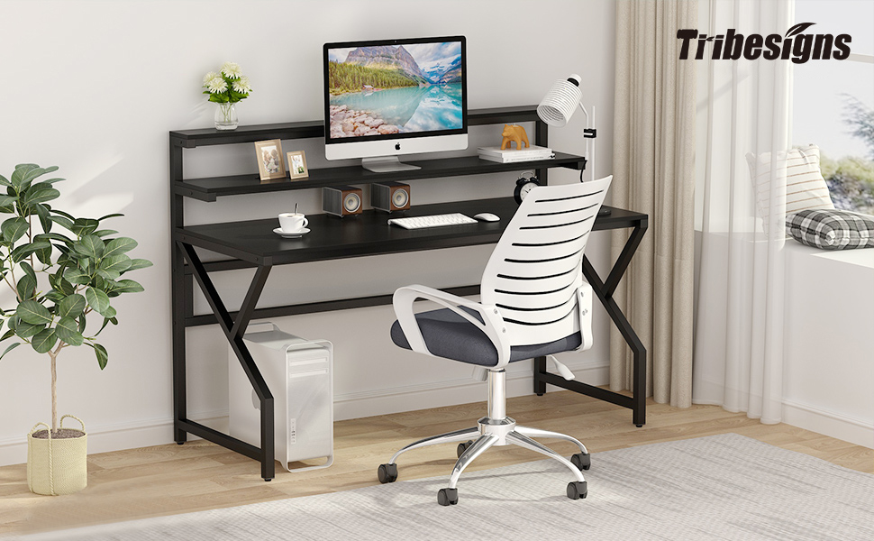 desk with monitor stand