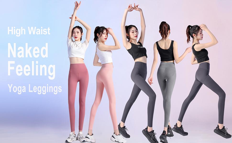 Text: Naked feeling high-waist yoga pants, 5 female models