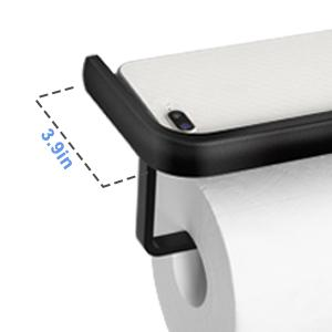 Toilet Paper Holder with Shelf, Anti-Rust Aluminum Toilet Paper Roll Holder with Phone Shelf