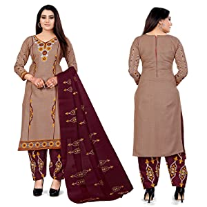 Rajnandini Women's Beige And Beige Cotton Printed Unstitched Salwar Suit Material