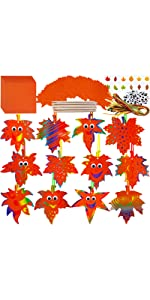 72 Sets Magic Color Scratch Fall Leaf Ornaments with Envelopes and Stickers Craft Kit