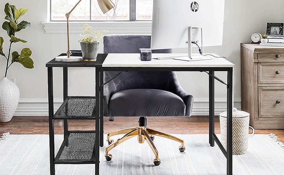 Modern white black computer desk