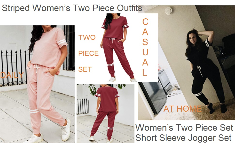 Women's Two Piece Outfit Short Sleeve Pullover With Drawstring Long Pants Jogger Set with Pockets