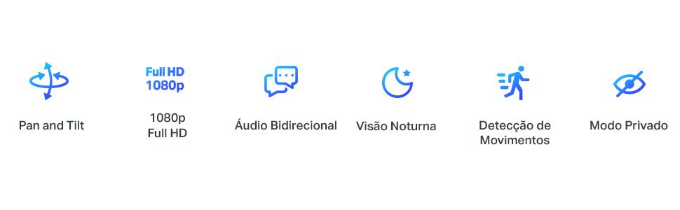 Rotacional, Full HD, Áudio bidirecional, visão noturna, Detecção de movimentos, modo privado