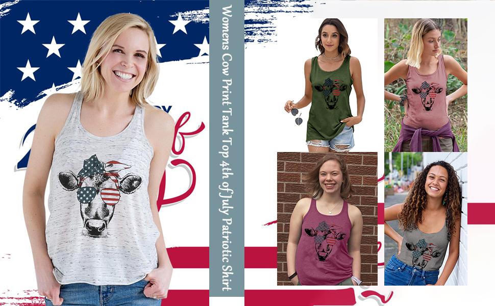 Women Funny Cow Shirts 4th July Tank