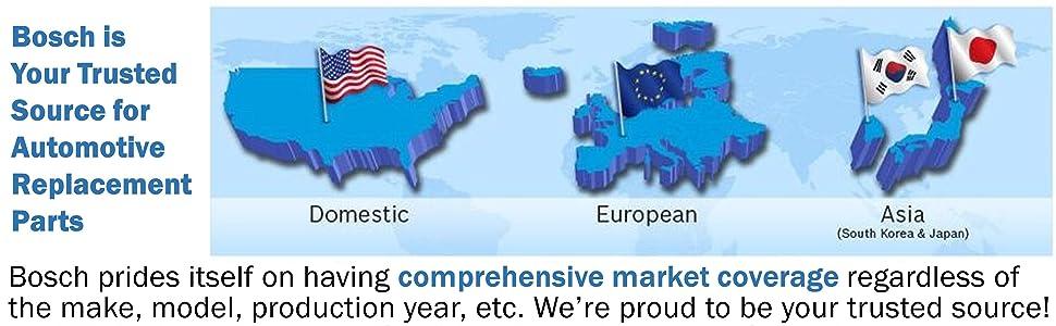 Bosch comprehensive market coverage - Domestic European Asian
