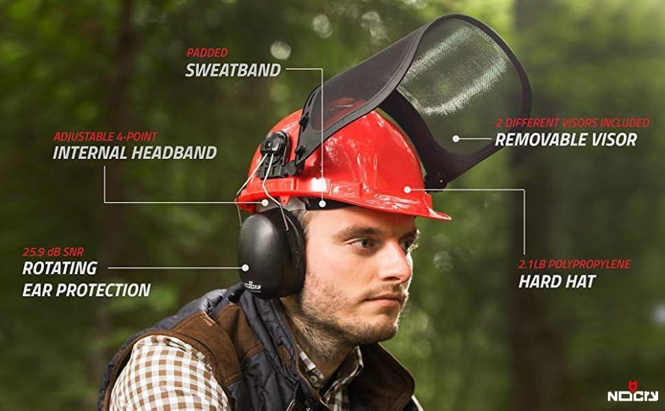 chainsaw stihl husqvarna helmets shields hardhat hats oregon glasses cutting head screen sthil wire