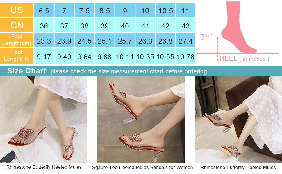 Clear PVC Heeled Mules Sandals Rhinestone Butterfly Slip On