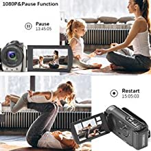 1080P camcorder with pause function