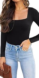 square neck long sleeve bodysuit