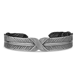 feather cuff bracelet in silver