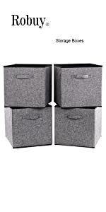 13x15x13 in Gray Fabric Foldable Cubes Strorage bins  Collapsible Resistant Basket Box Organizer